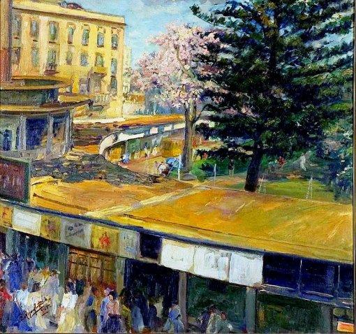 BENITO MAZON CASTAÑEDA 1885-1955 Abrigo do Bondes de Porto Alegre, Pinacoteca Aldo locatelli,  1945ost  - 75,0 x 80,2 cm.