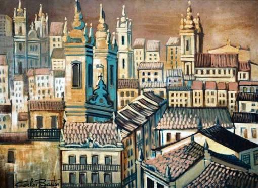CARLOS BASTOS (1925 - 2004) - Casario e Igrejas no Centro Histórico em Salvador-Bahia, óleo stela, 73 x 1,00.