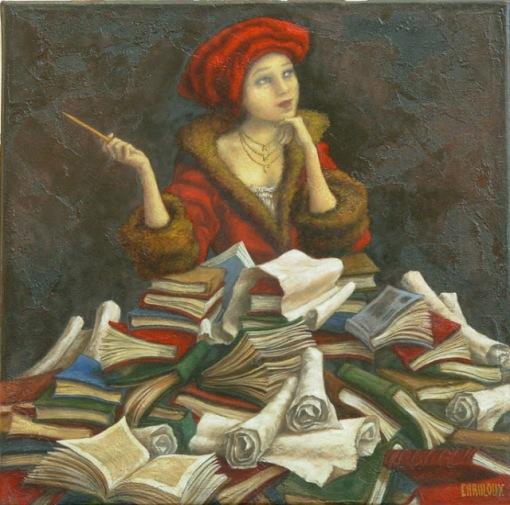 Catherine Chauloux (França, 1957) a_la_recherche_des_mots In search of lost words.  Oil on canvas, 40x40 cm