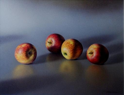 Daltro Borowski, natureza morta com maçãs,  oil on canvas, 35x45, 2008, daltro_borowski