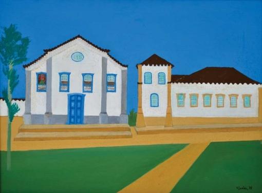 DJANIRA DA MOTTA E SILVA (1914-1979) - Casario em Cabo Frio-RJ,ost, 60 x 81. Assinado e datado (1973)