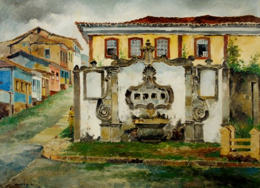 GEORGES WAMBACH - (Bélgica1901 -Brasil 1965)Ouro Preto - óleo sobre tela - 54 x 74 cm -