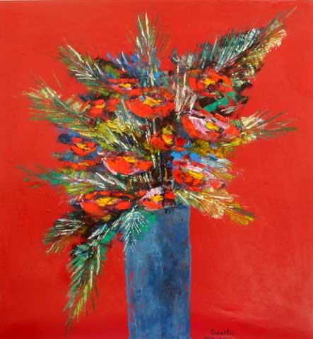 Ingres Speltri (1940)Vaso de flores em fundo vermelho,sd,ost, 102x97cm