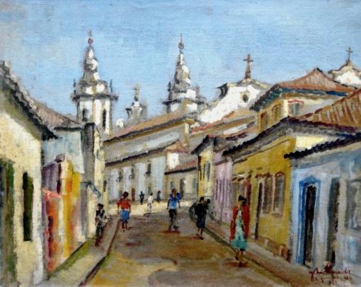 JOSE MARIA DE ALMEIDA - 1906-1995 - R. Santo Antonio - São João Del Rei, o.s.t. - 33 x 41 - Assinado e datado 1962 cid e verso.