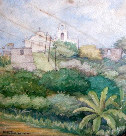 Oliani, Alfredo (1906-1988)Itanhaém,1940,Aquarela,38 x 30 cm