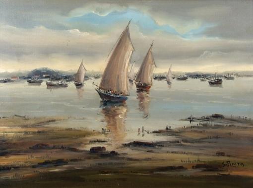SYLVIO PINTO (1918-1997)Barcos e traineiras na Baia de Guanabara – RJ,1978, ost, 60 X 81