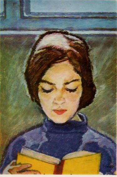 V.G.Vlasov (1927, Odessa - 2000, ibid.) Girl with a book. 1966 Pastel on cardboard. Postcard printed in the USSR, Ukrainian SSR, publishing Mistetstvo