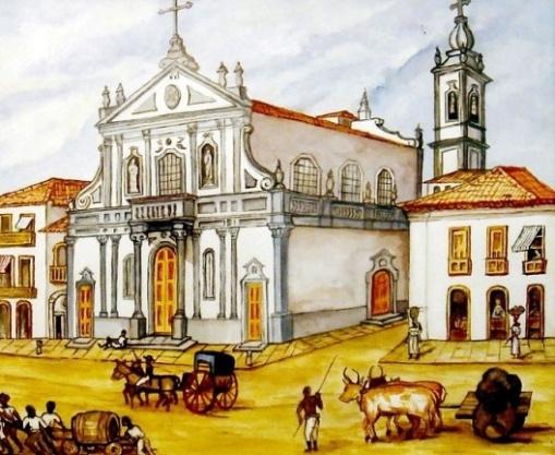 Vista da Igreja de Santa Cruz dos Militares, Rio de Janeiro RJ. Aquarela de Richard Bates, século 19