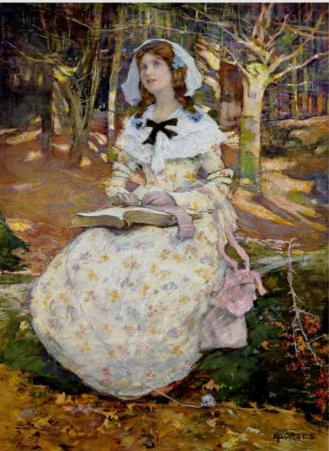 (Adela) Elizabeth Stanhope Forbes ( 1859-1912) The Open Book, aquarela, 61x46cm,Southebys 2008