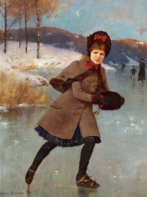 Axel_Ender_Young_girl_skating_on_a_frozen_lake,_Norway