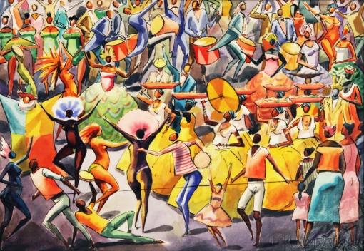 Hector Carybé (1911-1997)Carnaval, 1986, guache vinil e acrilico sobre cartao, 50 x 80