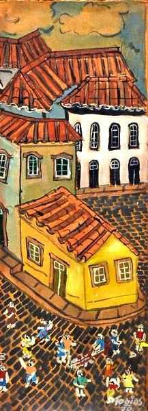 TOBIAS MARCIER (1948-1982)Bloco de Carnaval em Ouro Preto, ose, 23 x 9. (1970)