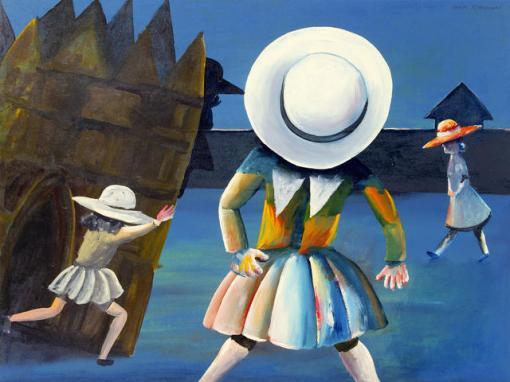 Charles Blackman (Austrália, 1928) Schoolgirls 1954. Esmalte sobe papel colado em placa,98 x 130