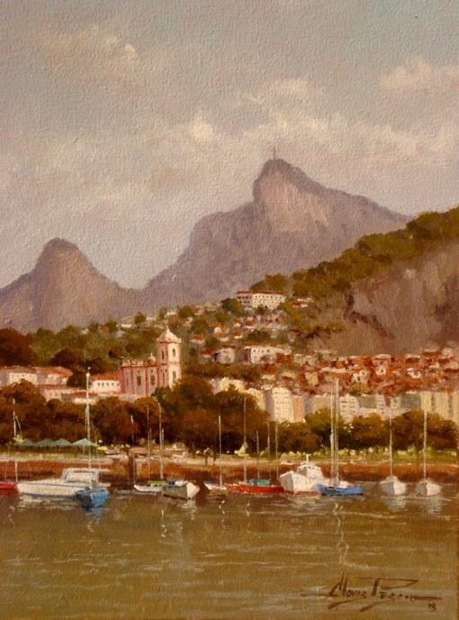 CLÓVIS PÉSCIO - Cena do Rio - Óleo sobre tela