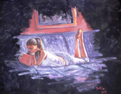 Fabricio Fontolan,(Paraná, Brasil)  Reading, 2005, oil on canvas