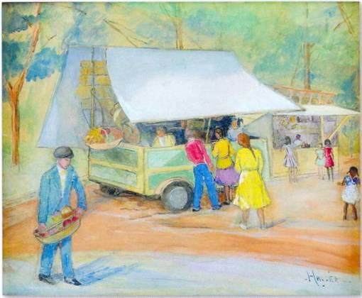 HAYDÉA SANTIAGO (1896 - 1980) Feira - Pastel scartão colado em eucatex 51