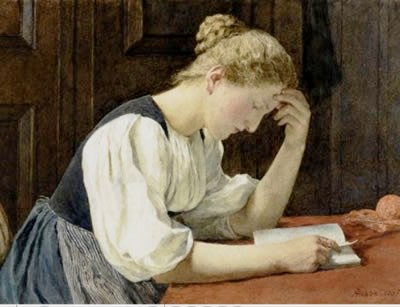 Johann Gottfried Steffan (Alemanha) Jovem mulher lendo,