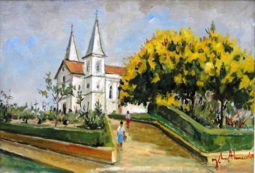 JOSÉ MARIA DE ALMEIDA (1906-1995)Igreja Matriz de Cambuquira-MG,1963,ost,38 x 55