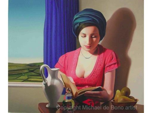 Michael de Bono, reading-in-sunlight - Oil on canvas