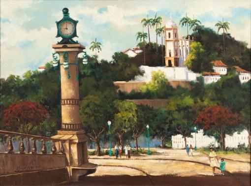 ONILD AQUINO, O Relógio – Glória – Rio de Janeiro-RJ 60 x 81 cm,OST - Ass. CIE e Dat. 1992