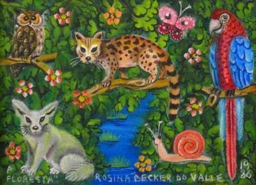 Rosina Becker do Valle (1914-2000) - A Floresta - Óleo sobre tela - 17 x 22,5 cm - 1986