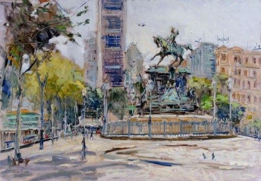 VIRGILIO DIAS (1956)Praça Tiradentes, ast, 70 x 100 cm