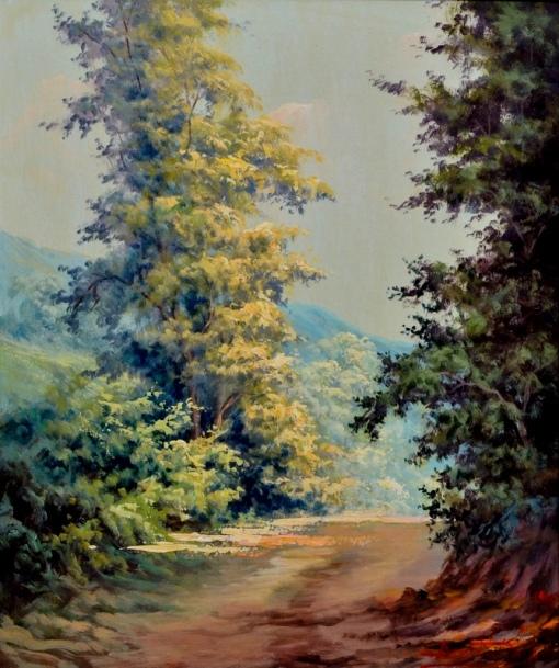 BENEDITO, LUIZI (1933). Dia de Sol no Alto da Tijuca, óleo s eucatex, 46 X 38. Assinado e datado (1985)