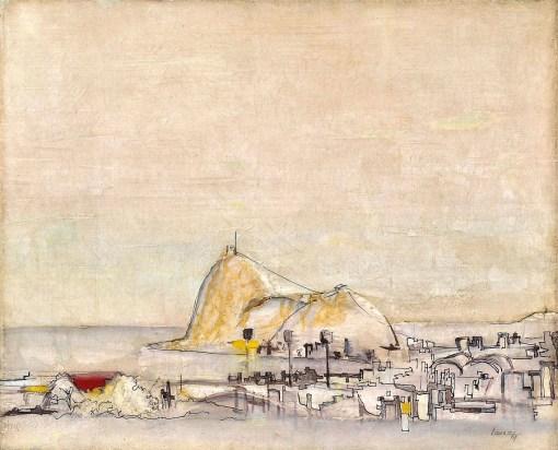 BRUNO TAUSZ - Pão de Açúcar - Rio, óleo sobre tela, 38X46cm. Assinado 1967