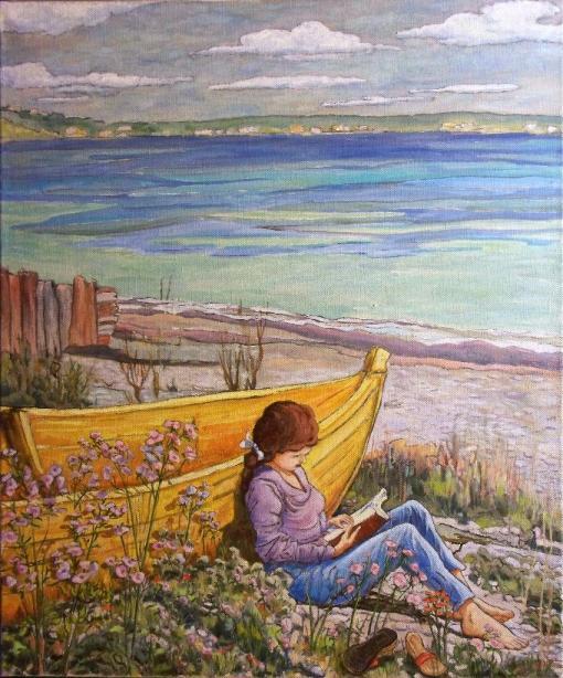 Denis Gringas, (França), Leitura na praia, óleo sobre tela, 75 x 90 cm