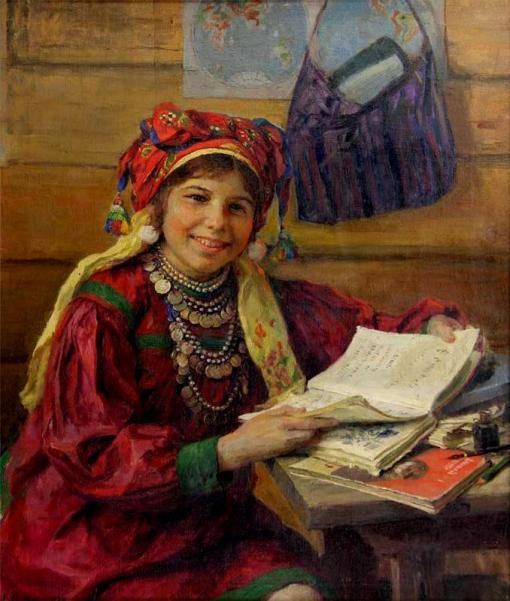 FV Sychkov (1870 - 1958),Uma menina de escola, 1934