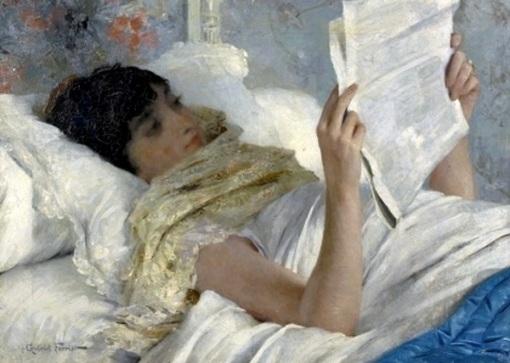 gabriel ferrier (1847-1914) moça lendo na cama, ost,