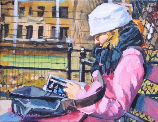 Gwen Meyerson Woman In Pink Reading Original pink Painting by Gwen Meyerson