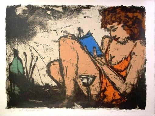 Wim Zurne, Com um livro azul, gravura, 50x65cm, 2000