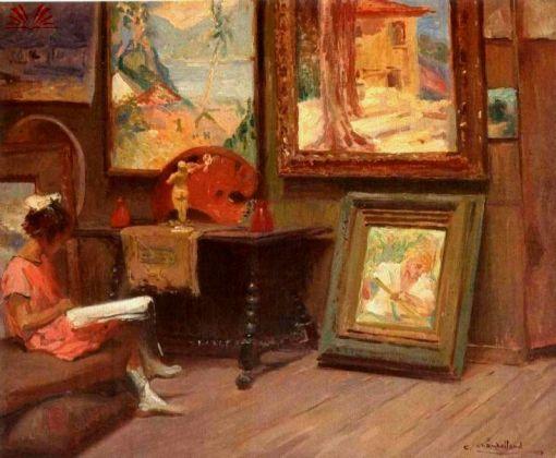 CHAMBERLLAND, Carlos, Leitura no Atelier, óleo s. tela, ass.inf.dir.(c.1935)45 x 54 cm