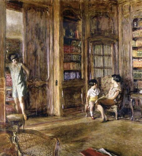 Jean-Edouard-Vuillard-In-the-Library-Oil-Painting
