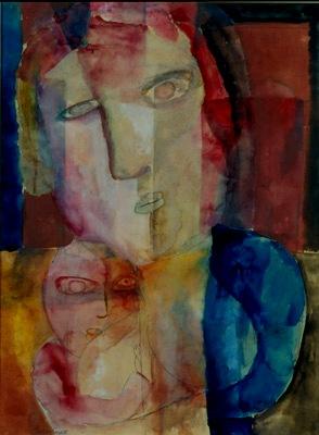 Lazar Segall, Maternidade, 1922, aquarela sobre papel e grafite