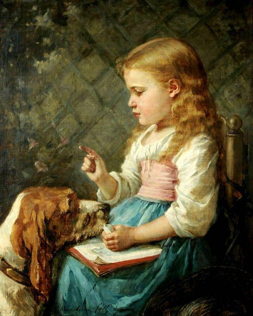 Madeleine Jeanne Lemaire (1845 – 1928, French)girl-with-dog
