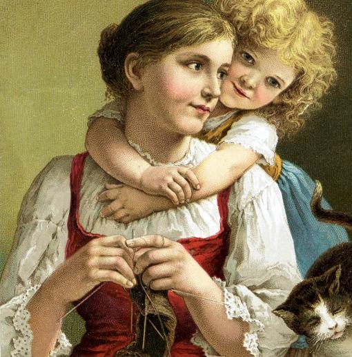 Mãe  e filha, gatinho