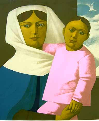 Reynaldo Fonseca (1925)Maternidade Gravura 39-300 65 x 50 cm. Base