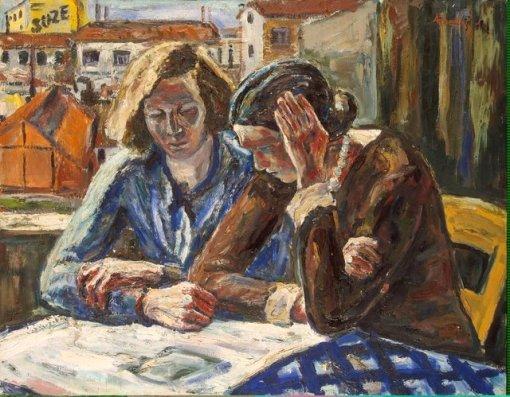 Albin Amelin, duas mulheres próximas à janela, ost, Hermitage