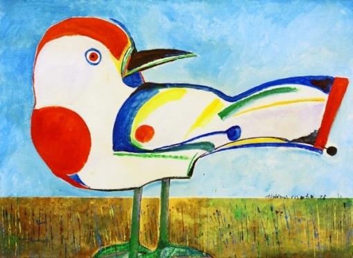 Aldemir Martins - Pássaro. Acrílica sobre tela, 60x81 cm, 1986,