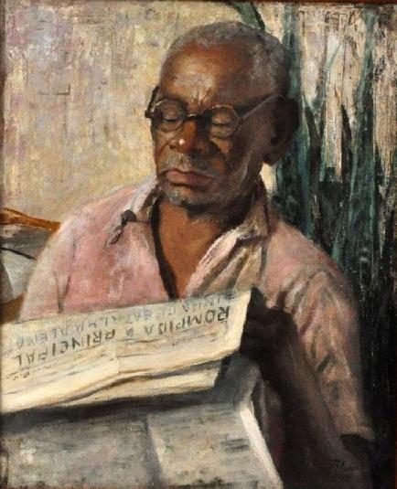 ANA MARIA LEÃO - Homem lendo óleo sobre tela, 61X50cm. Assinado 1945.