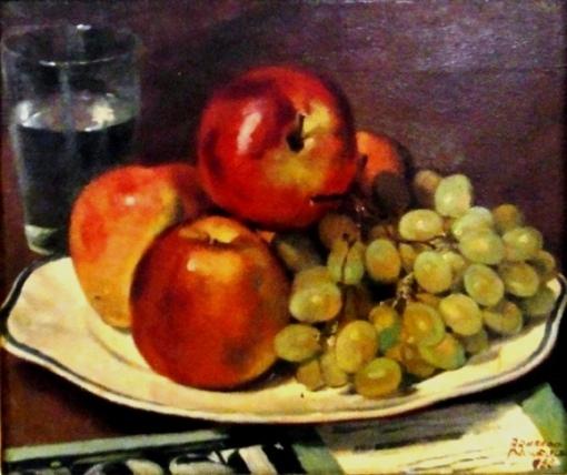 Armando Pacheco(1913-1965) Prato com maçãs e uvas, 1955, osm, 27x33
