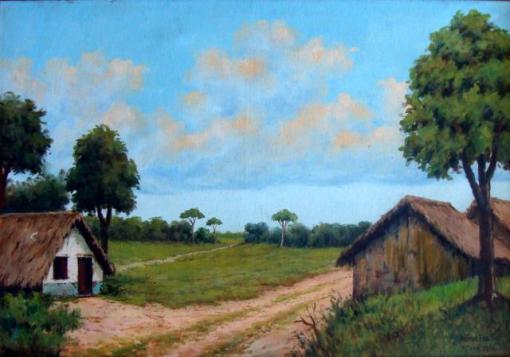 Arthur Frazão (1890-1957)Paisagem do Pará,1960, ost,70 x 50 cm