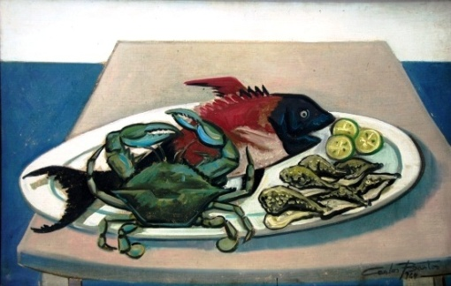 CARLOS BASTOS. Natureza-morta com frutos do mar, óleo sobre tela, 65 cm x 100 cm, a.c.i.d., datado (19)64.