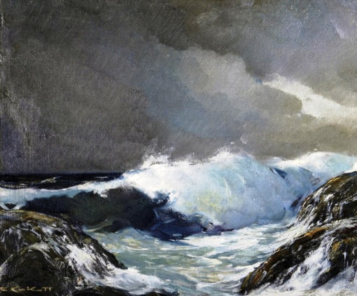 CAROL KOSSAK - Mar bravio - Óleo sobre tela - 38 x 46