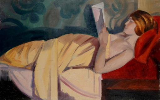 Claude Lacaze, Woman Reading ,Oil on canvas, 25,5x 41 inches,