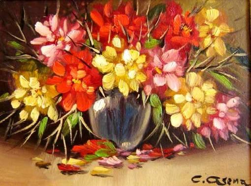 Claudio Arena, flores, ost, 17x23