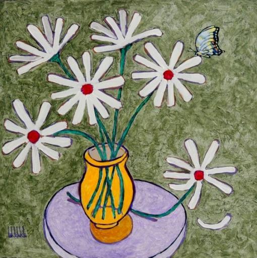Cláudio BARAKE, Margarida e borboleta - acrílica sobre tela - 60x60 cm acie 2009