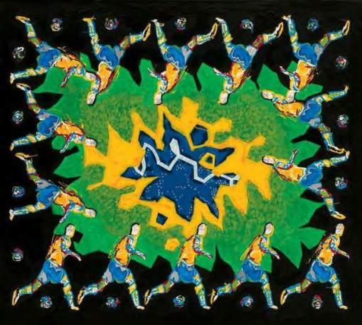 Daniel Azulay, Futebol Mandala,Técnica mista sobre tela, 90 x 100 cm, 2002